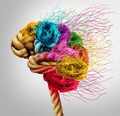 Brainstorming And Brainstorm Concept Or Psychology Symbol As A Creative Human Mind Made Of Rope And  poster