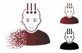 Pitiful Neural Interface Icon In Dispersed, Dotted Halftone And Undamaged Whole Versions. Pixels Are poster