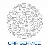 Car Service Poster With Circle Of Auto Repair Shop And Transportation Thin Line Symbol. Car, Wheel A poster
