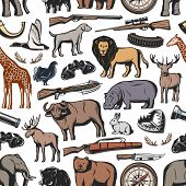 Hunting Sport Seamless Pattern Background With Hunter Rifle And Wild Animal. Weapon, Gun And Duck, D poster