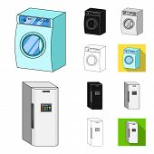 Smart Home Appliances Cartoon, Black, Flat, Monochrome, Outline Icons In Set Collection For Design.  poster