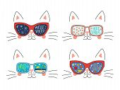 Set Of Cute Cat Faces In Sunglasses With Summer, Autumn, Winter, Spring Symbols Reflected, Text. Iso poster