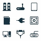 Computer Icons Set With Personal Computer, Keyboard, Tablet Phone And Other Desktop Computer Element poster
