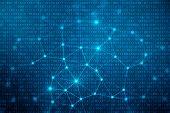 3d Illustration Binary Code On Blue Background. Bytes Of Binary Code. Concept Technology. Digital Bi poster