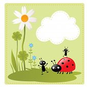 little happy cartoon insects playing in the garden vector illustration and a cloud for your text