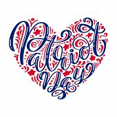 We Will Never Forget. 9 11 Calligraphy Text Patriot Day In Heart, American Color Stripes Background. poster