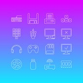 Vector Illustration Of 16 Laptop Icons Line Style. Editable Set Of Game Controller, Input Buttons, P poster