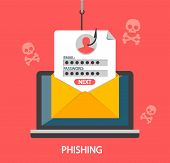 Phishing Login And Password On Fishing Hook.vector poster
