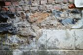 A Grungy Red Brick Wall Texture Background. Colorful Abandoned Grunge Cracked Brick Stucco Wall Back poster