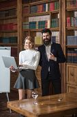 Blogging Concept. Happy Woman And Man Blogging In Library. Business Man And Woman Enjoy Video Bloggi poster