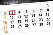 Calendar Planner For The Month, Deadline Day Of The Week 2018 September, 3, Monday poster