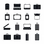 Suitcase Travel Luggage Bag Briefcase Icons Set. Simple Illustration Of 16 Suitcase Travel Luggage B poster