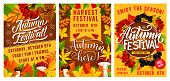 Autumn Harvest Festival Banners. Fall Season Leaf And Mushroom With Viburnum And Cone, Acorn And Blu poster