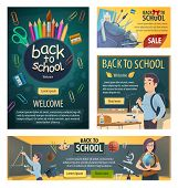 Back To School Banners With Geography Teacher And Student At Chalkboard During Geometry Lesson. Colo poster