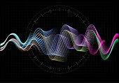 Equalizer Vector Illustration. Abstract Wave Icon Set For Music And Sound. Pulsation Color Wavy Moti poster