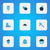 Seasonal Icons Colored Set With Coat, Honey, Apple And Other Timber Elements. Isolated Vector Illust poster