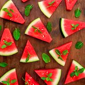 Watermelon Slice Pattern. Fresh Watermelon On Rustic Wood Background. Flat Lay. Summertime Concept. poster