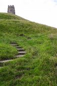 image of nudd  - Glastonbury Tor and the steps leading to it - JPG