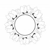 Indian Lotus Outline Banner Wreath. Nelumbo Nucifera,sacred Lotus, Bean Of India, Egyptian Bean. Nat poster