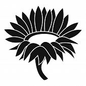 Blossoming Sunflower Icon. Simple Illustration Of Blossoming Sunflower Icon For Web poster