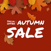 Sale Banner Promotion Autumn Season Red Background With Falling Leaves And Text. Autumn Season Theme poster