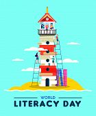 Happy Literacy Day Illustration, Beach Lighthouse Tower Made Of Children Books. Kids Building Countr poster