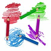 Realistic Set Of Colorful Pencils, Crayons With Brush Strokes Background, Back To School Art. Vector poster