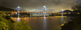 picture of hong kong bridge  - Tsing Ma Bridge Hong Kong China Stormy Evening Skyline Panoramic
