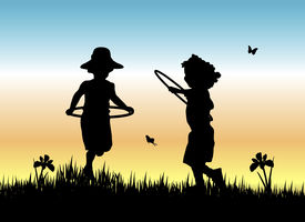 picture of children playing  - silhouette of two yong girls skipping with hula hoops in the grass - JPG