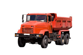 stock photo of dump_truck  - Heavy industrial orange tipper isolated over white background - JPG