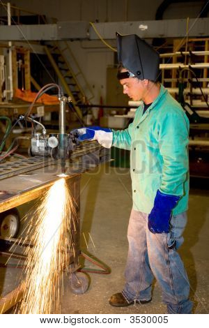 Metal Worker Using Track Burner