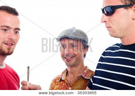 Excited Guys Sharing Hashish Joint