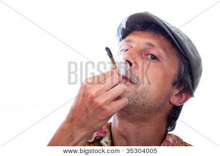 Man Smoking Hashish