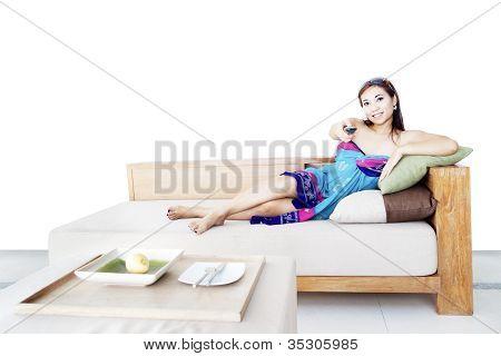 Woman relaxing in Living Room