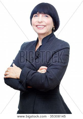 Attractive mature business woman on white background.
