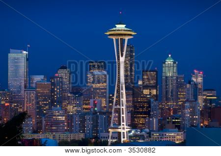 Seattle Skyline At Dusk