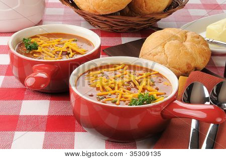 Chili With Meat And Cheddar Cheese