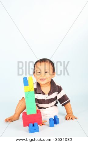 Toddler Plays Block