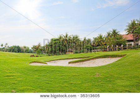 Campo de golfe com palmeiras sobre azul céu nublado