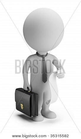 3D Small People - Businessman With A List Of Cases