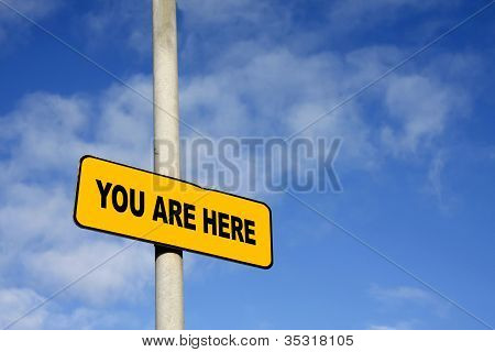 Yellow You Are Here Sign