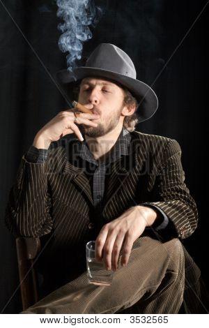 Smoking Man With Glass