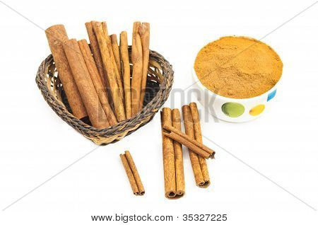 Branch Of Cinnamon And Powdered Cinnamon