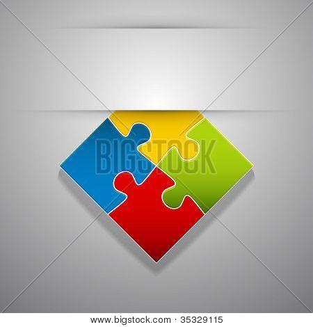 Attach Colorful Creative Puzzle Sticker.