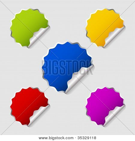 Colorful Round Stickers On Grey Background.