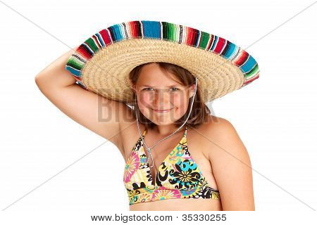 Smiling Girl With Arm über Mexican Hat ausgelöst