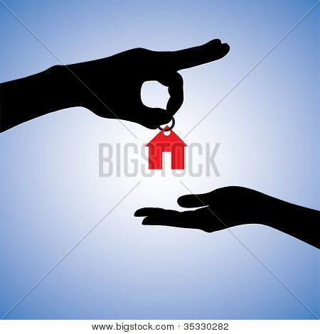 Concept Illustration Of Selling Or Gifting House In Real Estate Market. The Hand Holding A Red House