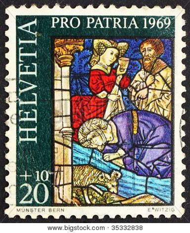 Postage stamp Switzerland 1969 Israelites Drinking from Spring o