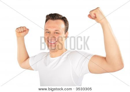 Man Shows Musculature
