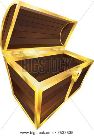 Empty Wooden Treasure Or Pirate Chest